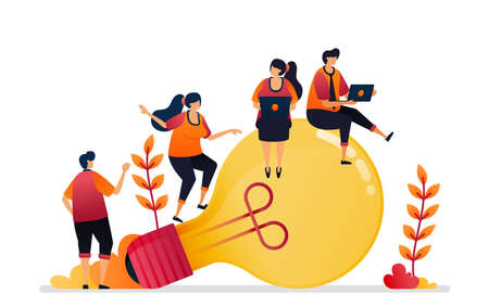 Vector illustration of idea and inspiration, looking for problem solving with brainstorming and knowledge. Graphic design for landing page, web, website, mobile apps, banner, template, poster, flyer