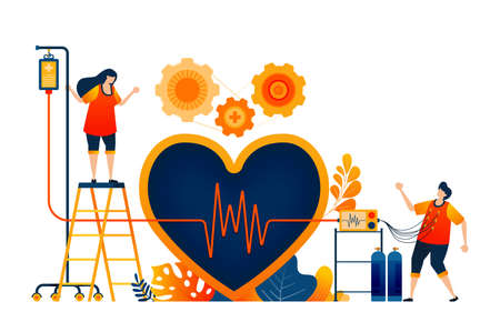 Check heart health with symbol of love and wave cardiology. Healthy treatment. Vector illustration concept can be use for landing page, template, ui ux, web, mobile app, poster, banner, website, flyer