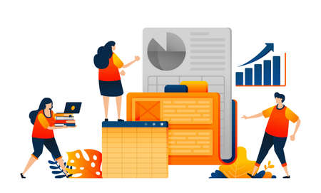 Workers search company data in the work folder and analyze performance growth. Vector illustration concept can be use for landing page, template, ui ux, web, mobile app, poster, banner, website, flyer