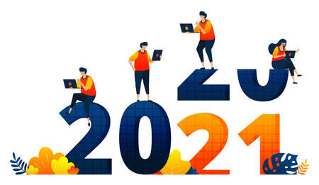 New years of 2020 to 2021 with theme of office employees without holidays. Vector illustration concept can be use for landing page, template, ui ux, web, mobile app, poster, banner, website, flyer