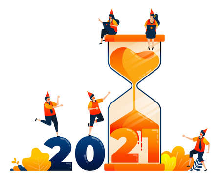 Countdown of 2020 to 2021 with theme of hourglass for past self-reflection. Vector illustration concept can be use for landing page, template, ui ux, web, mobile app, poster, banner, website, flyer 向量圖像