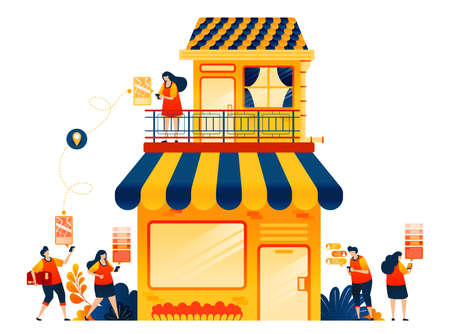 Selling online with e-commerce delivery service. Shophouse with apartment. Vector illustration concept can be use for, landing page, template, ui ux, web, mobile app, poster, banner, website, flyer 向量圖像