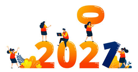 Countdown of 2020 to 2021 with theme of teamwork in the following year. Vector illustration concept can be use for landing page, template, ui ux, web, mobile app, poster, banner, website, flyer