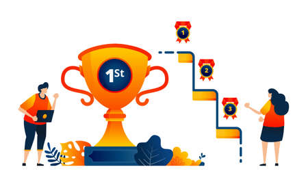 People get trophy medals for first, second, third place. Celebrating victory. Vector illustration concept can be use for landing page, template, ui ux, web, mobile app, poster, banner, website, flyer