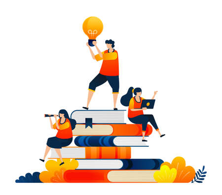 Educational students sitting on pile of books. Ideas in hands of students. Vector illustration concept can be use for landing page, template, ui ux, web, mobile app, poster, banner, website, flyer 向量圖像