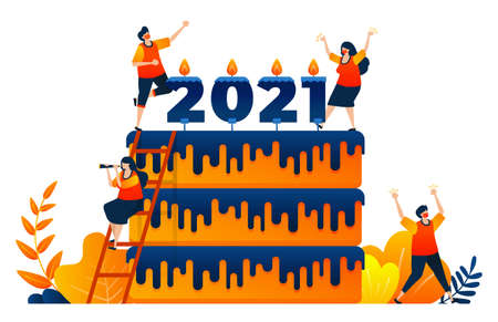 Countdown of 2020 to 2021 with theme of new year's celebration cake with candle. Vector illustration concept can be use for landing page, template, ui ux, web, mobile app, poster, banner, website