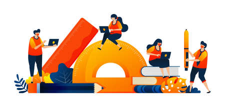 Students sit at stationery while studying. Learning equipment in class. Vector illustration concept can be use for landing page, template, ui ux, web, mobile app, poster, banner, website, flyer