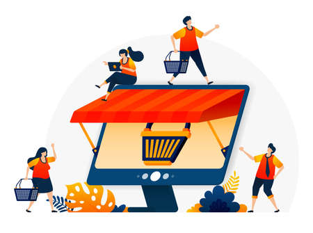 illustration of e-commerce online with a shopping cart metaphor and monitor with a roof. Wholesale and retail online stores. Vector design template for landing page, web, websites, site, banner, flyer