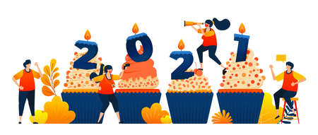 Countdown of 2020 to 2021 with theme of cupcakes to celebrate new year with candle. Vector illustration concept can be use for landing page, template, ui ux, web, mobile app, poster, banner, website 向量圖像