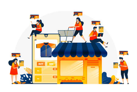 Illustration of shopping and spending money with e-commerce apps. Own your own shop with e-commerce. Find the right item with online shops. Landing page template for web, websites, site, banner, flyer