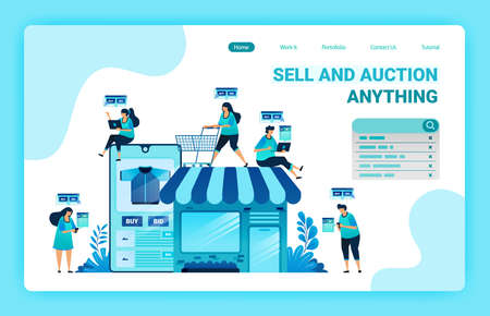 Landing page of shopping and spending money with e-commerce apps. Have your own shop with e-commerce. Find right item with online shop. Graphic design template for web, websites, site, banner, flyer