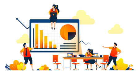 Business meeting in workspace with projectors, debate, bar chart diagram. Vector illustration concept can be use for landing page, template, ui ux, web, mobile app, poster, banner, website, flyer