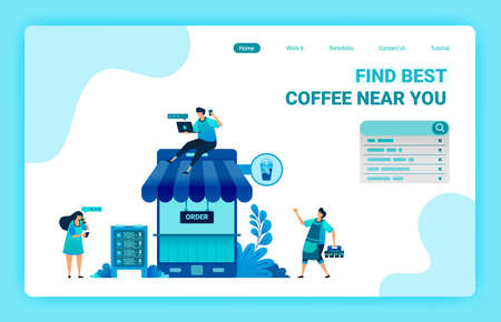 Landing page of coffee shop with phone and roof. Coffee shop metaphor 4.0 with internet. Coffee bar mobile apps to buy positive review. Vector design template for web, websites, site, banner, flyer