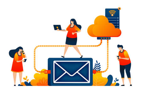 People access email storage and backups on a cloud network system technology. Vector illustration concept can be use for landing page, template, ui ux, web, mobile app, poster, banner, website, flyer 向量圖像