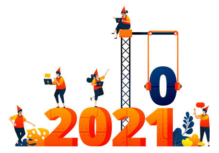 New year of 2020 to 2021 with theme of construction and building industry. Vector illustration concept can be use for landing page, template, ui ux, web, mobile app, poster, banner, website, flyer