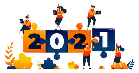 New years of 2020 to 2021 with theme of puzzle game, leadership and teamwork. Vector illustration concept can be use for landing page, template, ui ux, web, mobile app, poster, banner, website, flyer 向量圖像