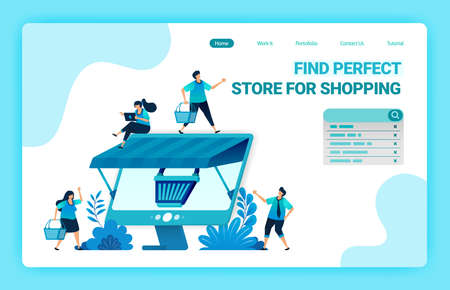 Landing page of e-commerce online with a shopping cart metaphor and monitor with a roof. Wholesale and retail online stores. Vector illustration design template for web, websites, site, banner, flyer 向量圖像