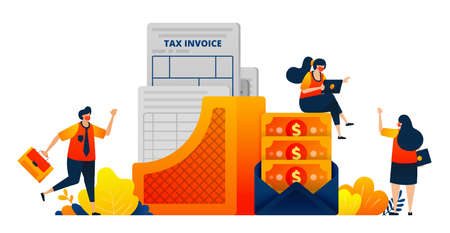 Tax payment documents for companies and individual. Money in an envelope. Vector illustration concept can be use for landing page, template, ui ux, web, mobile app, poster, banner, website, flyer 向量圖像