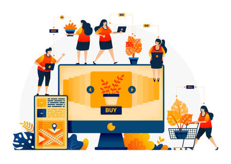 Illustration of shop and find plants at best prices. E-commerce and delivery services with mobile apps. Looking for monstera plants online. Landing page template for web, websites, site, banner, flyer 向量圖像