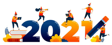 Countdown of 2020 to 2021 with theme of education, study, learning. Vector illustration concept can be use for landing page, template, ui ux, web, mobile app, poster, banner, website, flyer 向量圖像