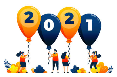 Countdown of 2020 to 2021 with theme of balloons for parties and carnivals. Vector illustration concept can be use for landing page, template, ui ux, web, mobile app, poster, banner, website, flyer