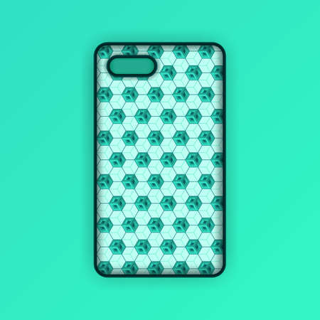 Realistic green mobile phone case mockup template. abstract illustration Futuristic geometric hexagon. smartphone screen mockup design. Can be used for marketing, advertising, social media, print 版權商用圖片 - 159575634