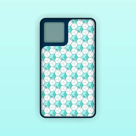 Realistic green mobile phone case mockup template. abstract illustration Futuristic geometric hexagon. smartphone screen mockup design. Can be used for marketing, advertising, social media, print 版權商用圖片 - 159575637