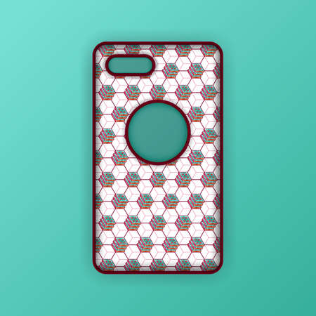Realistic green mobile phone case mockup template. abstract illustration Futuristic geometric hexagon. smartphone screen mockup design. Can be used for marketing, advertising, social media, print 向量圖像