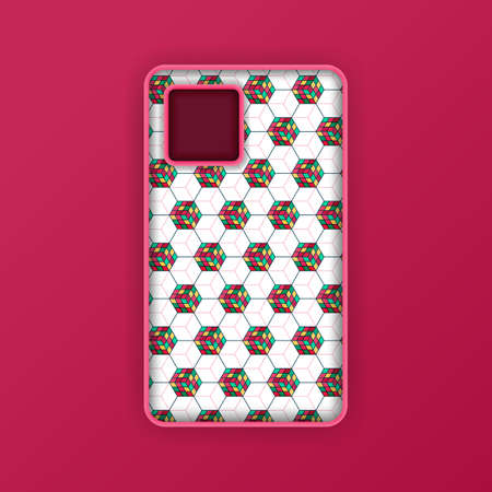 Mobile phone case mockup template. Realistic smartphone mockup with red hexagon geometric wallpaper. Can be used for marketing, advertising, social media, print, banner, poster, background, backdrop 向量圖像