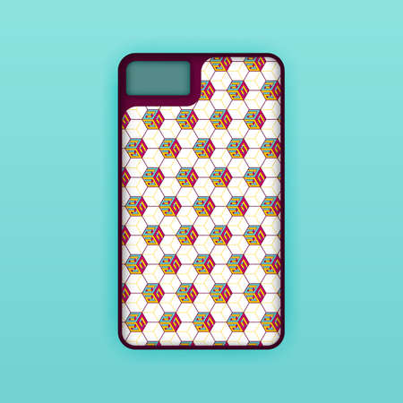 Realistic green mobile phone case mockup template. abstract illustration Futuristic geometric hexagon. smartphone screen mockup design. Can be used for marketing, advertising, social media, print 版權商用圖片 - 159575649