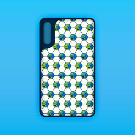 Blue mobile phone screen mockup template. Futuristic geometric and abstract hexagon background. Realistic smartphone case mockup design. Can be used for marketing, advertising, social media, print 版權商用圖片 - 159575664