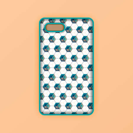 beige mobile phone screen mockup template. modern geometric and  abstract hexagon background. Realistic smartphone case mockup design. Can be used for marketing, advertising, social media, print 版權商用圖片 - 159575663