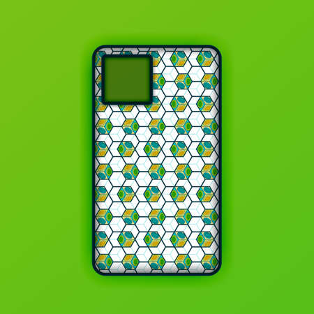 Realistic green mobile phone case mockup template. abstract illustration Futuristic geometric hexagon. smartphone screen mockup design. Can be used for marketing, advertising, social media, print 版權商用圖片 - 159575669
