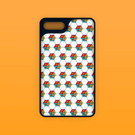 Realistic smartphone casing silicone template with orange color. Abstract hexagon geometric wallpaper. Can be used for marketing, advertising, social media, print, banner, poster, background, backdrop 向量圖像
