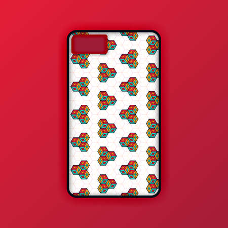 Mobile phone case mockup template. Realistic smartphone mockup with red hexagon geometric wallpaper. Can be used for marketing, advertising, social media, print, banner, poster, background, backdrop 版權商用圖片 - 159575671