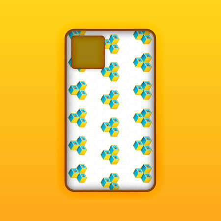 yellow mobile phone screen mockup template. Futuristic geometric and abstract hexagon background. Realistic smartphone case mockup design. Can be used for marketing, advertising, social media, print