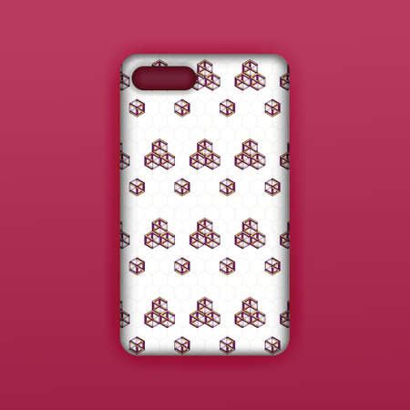 Mobile phone case mockup template. Realistic smartphone mockup with red hexagon geometric wallpaper. Can be used for marketing, advertising, social media, print, banner, poster, background, backdrop 版權商用圖片 - 159575678