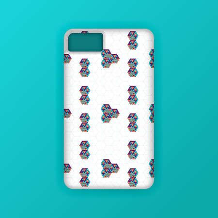 Realistic green mobile phone case mockup template. abstract illustration Futuristic geometric hexagon. smartphone screen mockup design. Can be used for marketing, advertising, social media, print 版權商用圖片 - 159575676