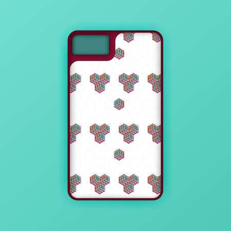 Realistic green mobile phone case mockup template. abstract illustration Futuristic geometric hexagon. smartphone screen mockup design. Can be used for marketing, advertising, social media, print 版權商用圖片 - 159575681
