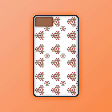 beige mobile phone screen mockup template. modern geometric and  abstract hexagon background. Realistic smartphone case mockup design. Can be used for marketing, advertising, social media, print 版權商用圖片 - 159575684