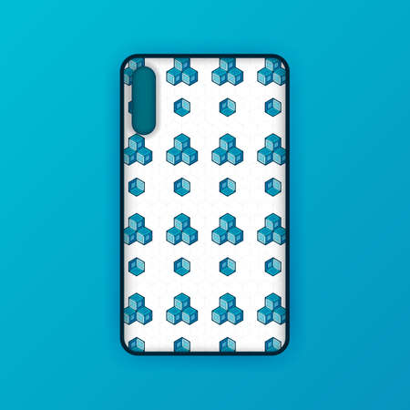 Blue mobile phone screen mockup template. Futuristic geometric and abstract hexagon background. Realistic smartphone case mockup design. Can be used for marketing, advertising, social media, print 版權商用圖片 - 159575685