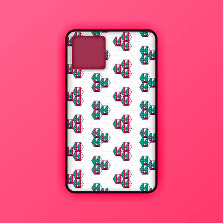 pink mobile phone mockup template. abstract illustration of geometric and hexagon seamless design. smart phone screen mockup design. Can be used for marketing, advertising, social media, print