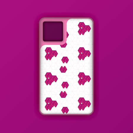Purple mobile phone case mockup template. Realistic smartphone mockup with hexagon geometric wallpaper. Can be used for marketing, advertising, social media, print, banner, poster, background 版權商用圖片 - 159575687