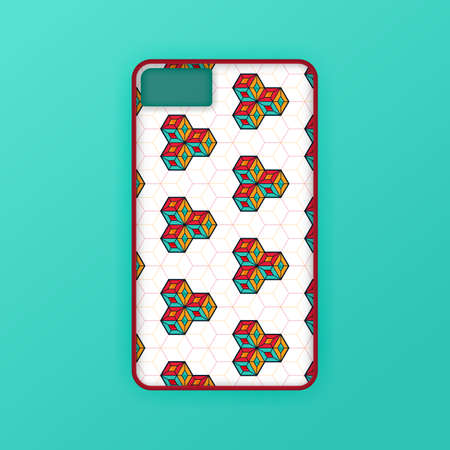 Realistic green mobile phone case mockup template. abstract illustration Futuristic geometric hexagon. smartphone screen mockup design. Can be used for marketing, advertising, social media, print 版權商用圖片 - 159575689