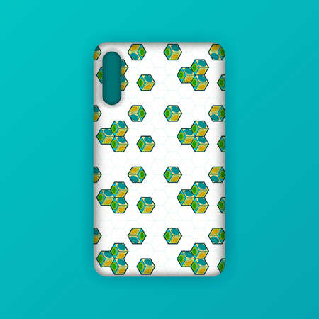Realistic green mobile phone case mockup template. abstract illustration Futuristic geometric hexagon. smartphone screen mockup design. Can be used for marketing, advertising, social media, print 版權商用圖片 - 159575690