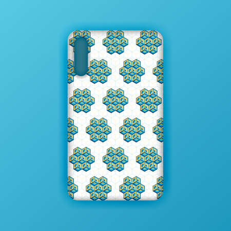 Blue mobile phone screen mockup template. Futuristic geometric and abstract hexagon background. Realistic smartphone case mockup design. Can be used for marketing, advertising, social media, print 版權商用圖片 - 159575692