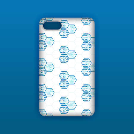 Blue mobile phone screen mockup template. Futuristic geometric and abstract hexagon background. Realistic smartphone case mockup design. Can be used for marketing, advertising, social media, print 向量圖像