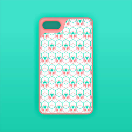 Realistic green mobile phone case mockup template. abstract illustration Futuristic geometric hexagon. smartphone screen mockup design. Can be used for marketing, advertising, social media, print 版權商用圖片 - 159575696