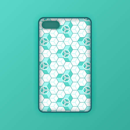 Realistic green mobile phone case mockup template. abstract illustration Futuristic geometric hexagon. smartphone screen mockup design. Can be used for marketing, advertising, social media, print 版權商用圖片 - 159575706