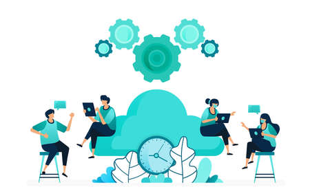 vector illustration of computing time on storage and hosting servers. manage cloud network timing. group of women and men workers. designed for website, web, landing page, apps, ui ux, poster, flyer 向量圖像
